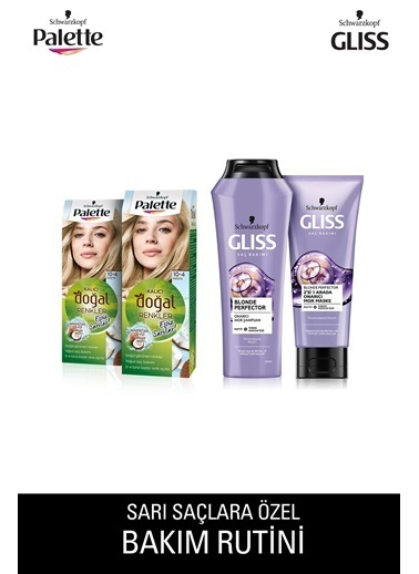 Gliss 10-4 Papatyax2 Adet+Blonde Perfector Mor Şampuan 250Ml+Blonde Perfector Mor Maske 200Ml Renksiz